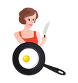 Smiling Woman with Knife end Scrambled Eggs vector image