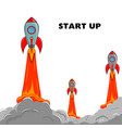 start up rocket ship vector image vector image