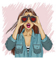 surprised woman with binoculars with open mouth vector image vector image