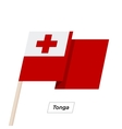 Tonga Ribbon Waving Flag Isolated on White vector image vector image