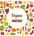 Vegan menu background Vegetarian Card Design Cute vector image