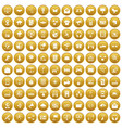 100 communication icons set gold vector image vector image