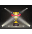 3d realistic shining golden cup on stage vector image vector image