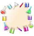 Border with beakers background vector image vector image