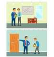 boss planning new company strategy with coworker vector image vector image