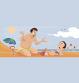 boy with dad on beach funny people vector image vector image