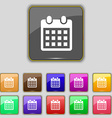 calendar page icon sign Set with eleven colored vector image vector image