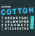 canvas design numbers and letters cotton font vector image