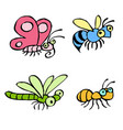 cartoon crawling insects vector image