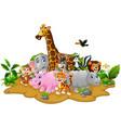 cartoon wild animals background vector image vector image