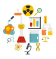 chemical laboratory icons set in flat style vector image