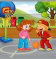 children basketball at park vector image