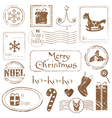 christmas grunge stamps vector image