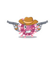 corona virus dressed as a cowboy having guns vector image vector image