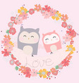 cute owl couple in floral frame vector image