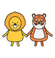 cute tiger and lion childish characters vector image vector image