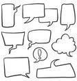doodle of text balloon set style vector image vector image