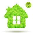 eco house logo house from green leaves vector image vector image