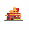 fast food restaurant building with drive threw vector image vector image