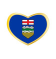 flag of alberta in heart shape golden frame vector image
