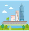 flat scene design cityscape urban landscape real vector image