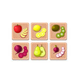 flat set of fruits and vegetables on wooden vector image