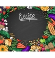 Food Recipe Background on Black Chalkboard vector image vector image