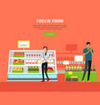 fresh food store concept banner in flat design vector image vector image
