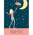 girl under stars rain vector image vector image