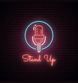 glowing microphone neon sign vector image