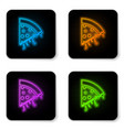 glowing neon slice pizza icon isolated on vector image vector image