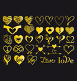 gold hand drawn hearts set vector image