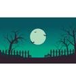 Halloween bat and pumpkins silhouette vector image
