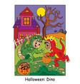 halloween funny boys in dinosaur costume vector image