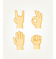hand gesture comic style icons set vector image