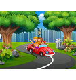 happy family riding cars in the city park vector image vector image