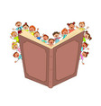 happy little kids read big book vector image