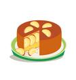 homemade apple pie slice on plate flat icon