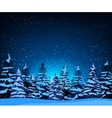 Landscape with silhouettes of snow-covered fir vector image vector image