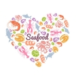 Love Seafood Concept vector image vector image