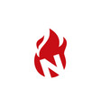 n letter fire flame logo icon vector image vector image