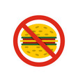 no fast food icon flat style vector image