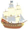 old pirate sailing ship with a flag of jolly roger vector image vector image