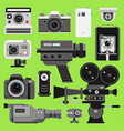photo video camera tools optic lenses set vector image vector image