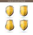 Set of metal orange mediavel shields template on vector image