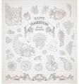 set of vintage Thanksgiving design elements vector image