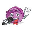 singing red cabbage mascot cartoon vector image vector image