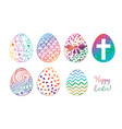 six colored doodle sketch easter eggs on white vector image