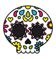 sugar skull colorful floral day of the dead vector image vector image
