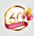template gold logo 60 years anniversary with vector image vector image